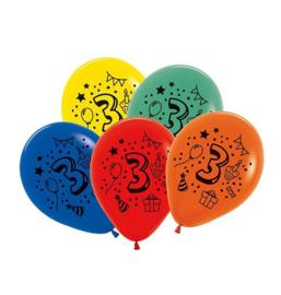 Cijfer drie ballonnen 7 stuks 30cm