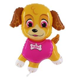 Puppy roze folie ballon 102x84cm