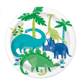 Dinosaurus bordjes 8 stuks 18cm