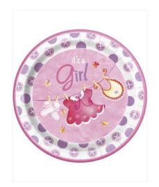 Borden geboorte meisje 8 stuks 23cm