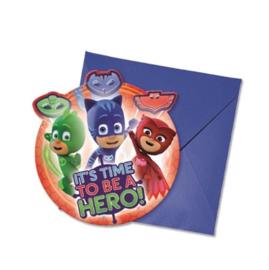 PJ Masks uitnodigingen 6 stuks