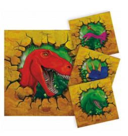 Dinosaurus servetten 16 stuks 25x25cm