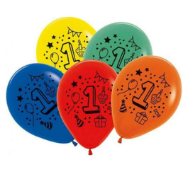 1 jaar ballonnen 7 stuks 30cm