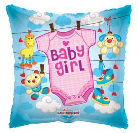 Geboorte meisje waslijn folie ballon 45cm