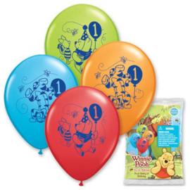 Winnie de Poeh 1 jaar ballonnen 6 stuks 30cm