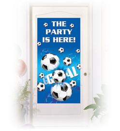 Voetbal deur banner plastic 76x152cm