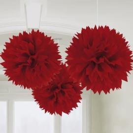Pompons rood 3 stuks 40cm