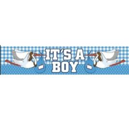 Geboorte jongen banner folie 260x19cm