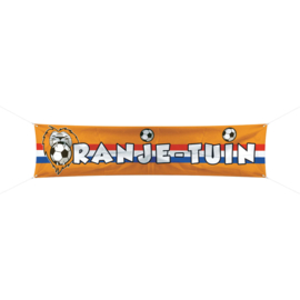 Oranje tuin voetbal spandoek 180x40cm