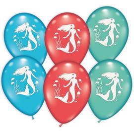 Zeemeermin ballonnen 6 stuks