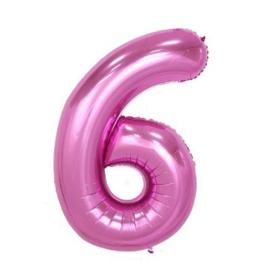 Folieballon zes roze 1m