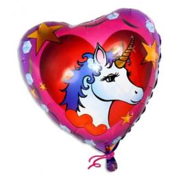 Eenhoorn folieballon hartvormig 35cm