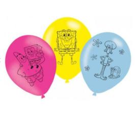 Spongebob ballonnen 6 stuks