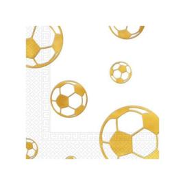 Voetbal servetten goud 15 stuks 33x33cm