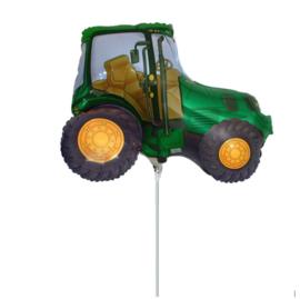 Tractor groen folie ballon op stok 25cm