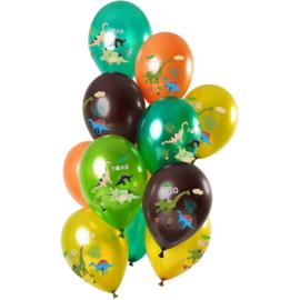Dinosaurus ballonnen gekleurd 12 st 30cm