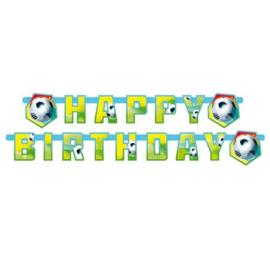 Voetbal letterslinger Happy Birthday 180cm