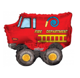 Brandweerauto folie ballon op stok 20cm