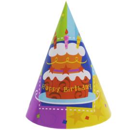 Verjaardag feesthoedjes 6 stuks 18cm