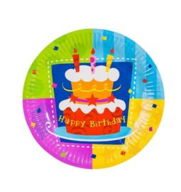 Verjaardag gebaksbordjes 10 stuks 18cm
