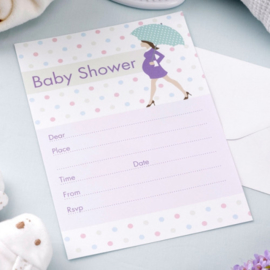 Baby shower uitnodigingen 10 stuks