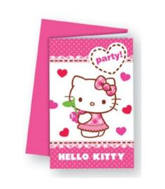 Hello Kitty uitnodigingen verjaardag 6 stuks