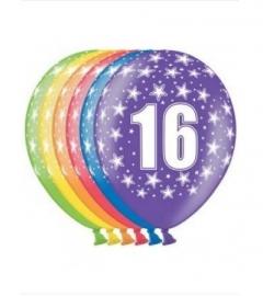 Ballonnen 16 jaar 6 stuks