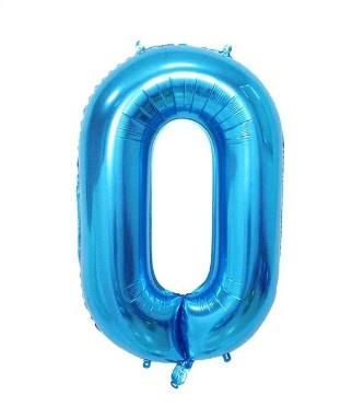 Folieballon nul blauw 1m