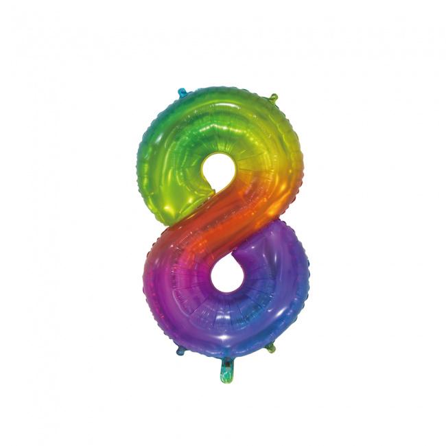 Regenboog acht folie ballon 76cm