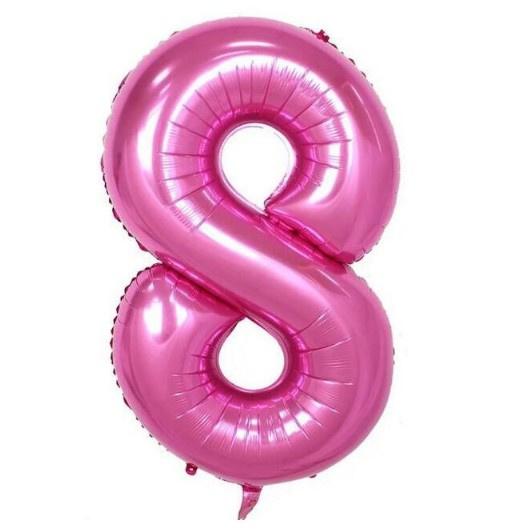 Folie ballon acht roze 1m