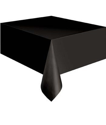 Plastic tafelkleed zwart 137x247cm