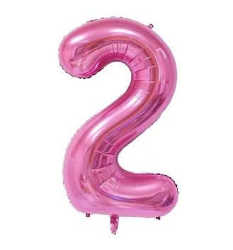 Folieballon twee roze 1m