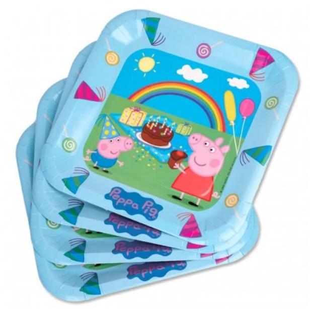 Peppa Pig borden verjaardag 6st 23cm