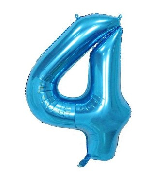 Folieballon vier blauw 1m