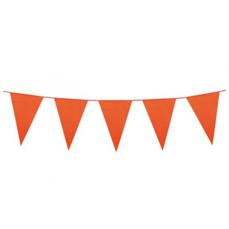 Oranje vlaggenlijn plastic 10m