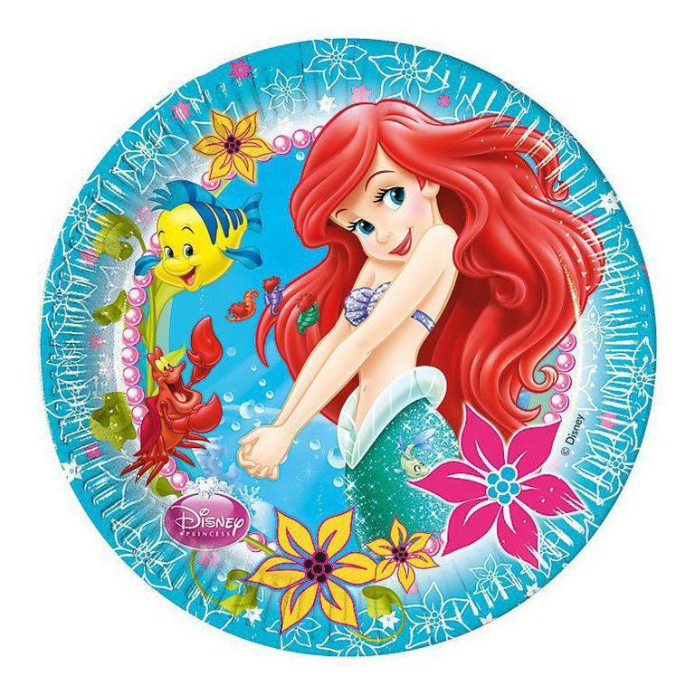 De kleine zeemeermin borden 8 stuks 23cm
