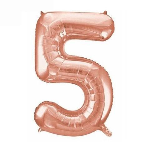 Folie ballon vijf rosé goud 45cm