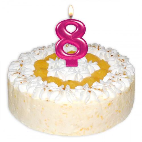 Cijfer acht kaars taart 9,5cm