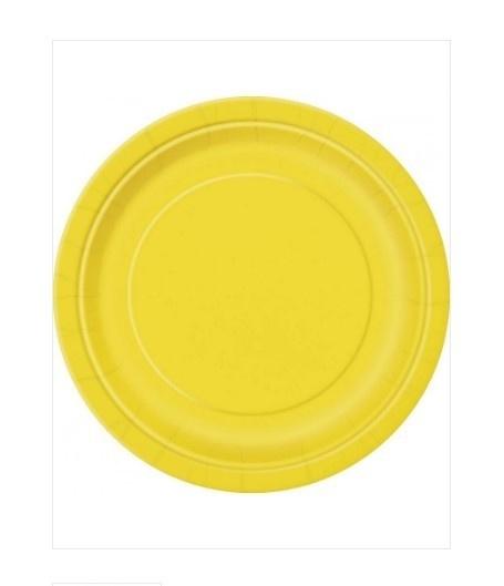 Borden geel 23cm 8 stuks