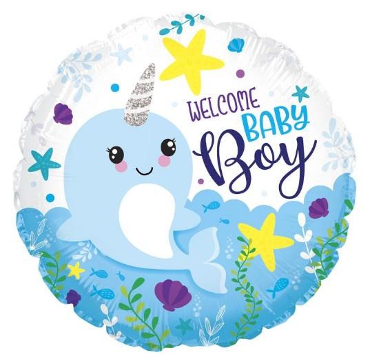 Welcome baby boy folie ballon 45cm