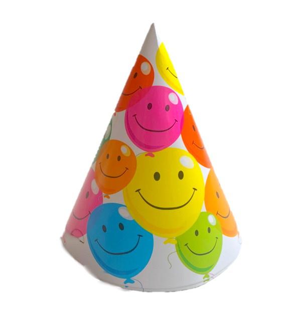Verjaardag ballonnen feesthoedjes 6 stuks