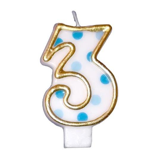 Cijfer drie kaars taart