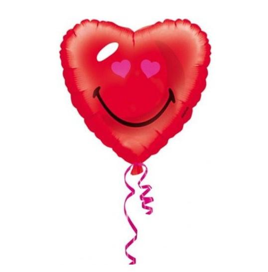 Emoji hart folie ballon 43cm