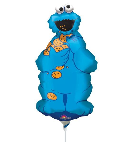 Koekiemonster Sesamstraat folie ballon op stok 36x23cm