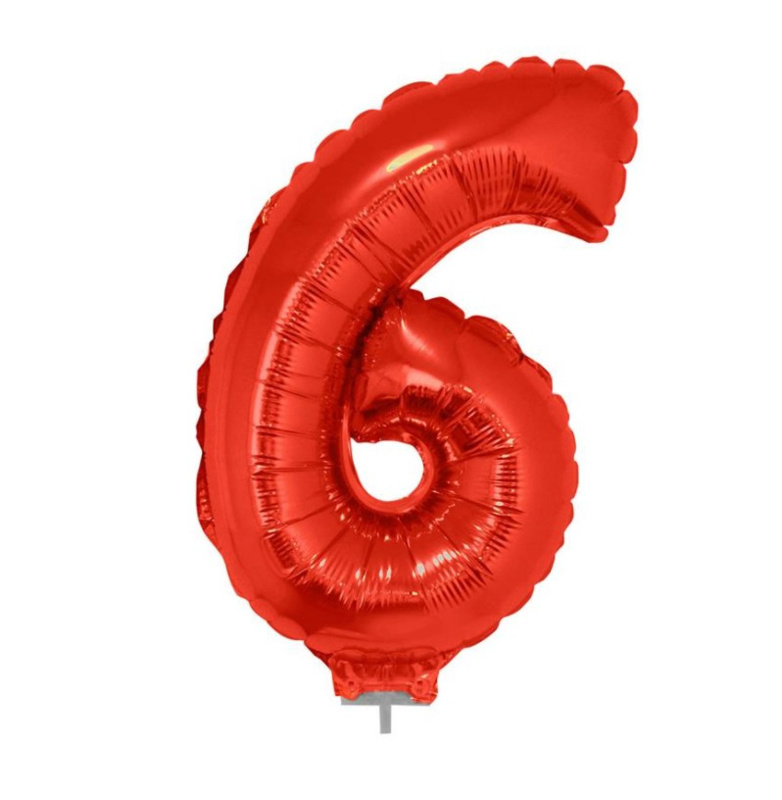 Folie ballon zes rood op stok 45cm