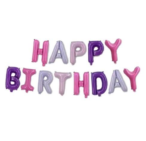 Folie ballon happy birthday roze paarse letters