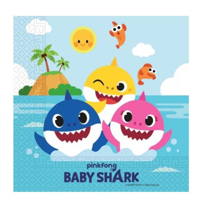Baby Shark servetten 20 stuks 33x33cm