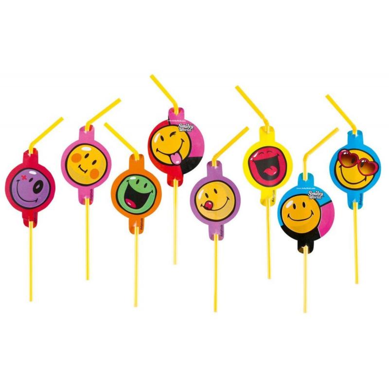 Emoji rietjes 8 stuks