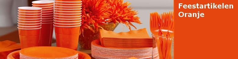 Oranje versieringen kleur feestartikel