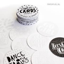 Confetti cards in blikje 50 kaarten DIY versie
